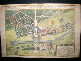 De Fer 1724 Folio Hand Colored Map Plan. Plan General de Chantilly, France
